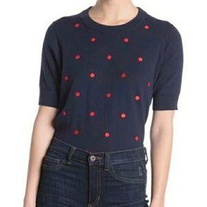 J. CREW - Navy Blue Red Polka Dot Short Sleeve Top